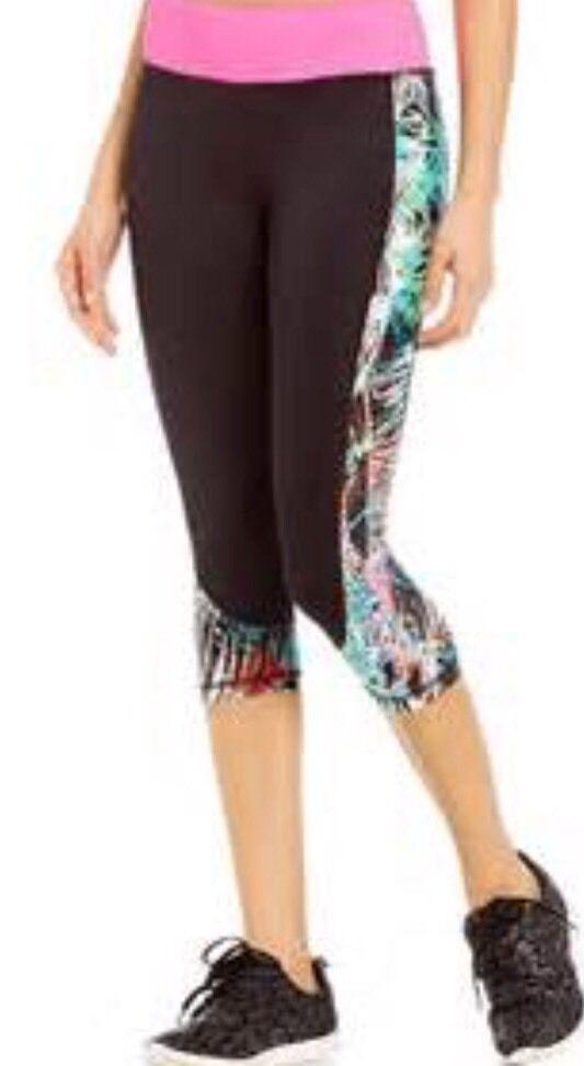 GIANNI BINI ACTIVE Reese Capri Legging M Brewer Palm  Print  NWT Gym Pant