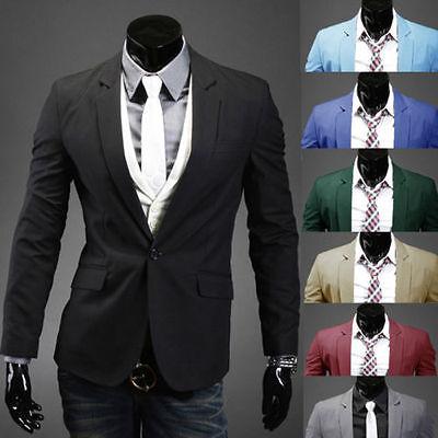 Fashion Mens Slim Fit Stylish Casual One Button Suit Coat Jacket Blazers Tuxedo