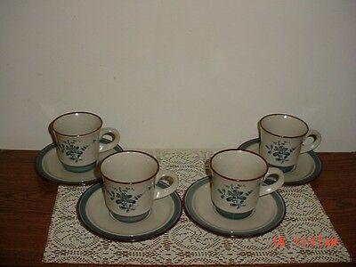 """8-PC NORITAKE """"PLEASURE"""" COFFEE CUPS & SAUCERS/#8344/BEIGE-BLUE-BRN/STAMPED"""