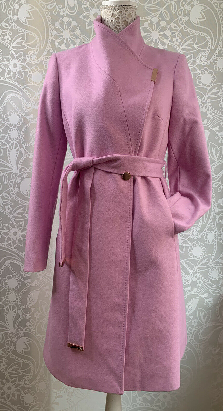 Ted Baker Coat Rose pink cashmere wool blend wrap SIZE 2 UK 10