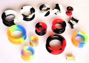 4-25mm-Soft-Silicone-Stretcher-Earring-Flesh-Tunnel-Ear-Plug-Expander-2-Tone-1pc