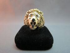 14k Yellow Gold Lion Head 3 Diamond Ring Size 8 Hefty 16.1 Grams Estate NICE!