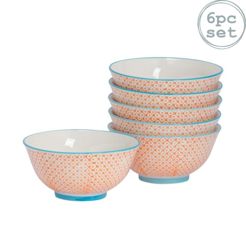 Patterned Cereal Bowls Breakfast Kitchen Porcelain Bowl Orange Blue 152mm x6