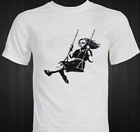 Banksy - Girl On Swing - Graffiti Art T-shirt