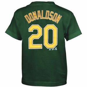 new product 9a8d4 b8c7b Details about Josh Donaldson Oakland Athletics MLB Majestic Boy's Green  Player Jersey T-Shirt