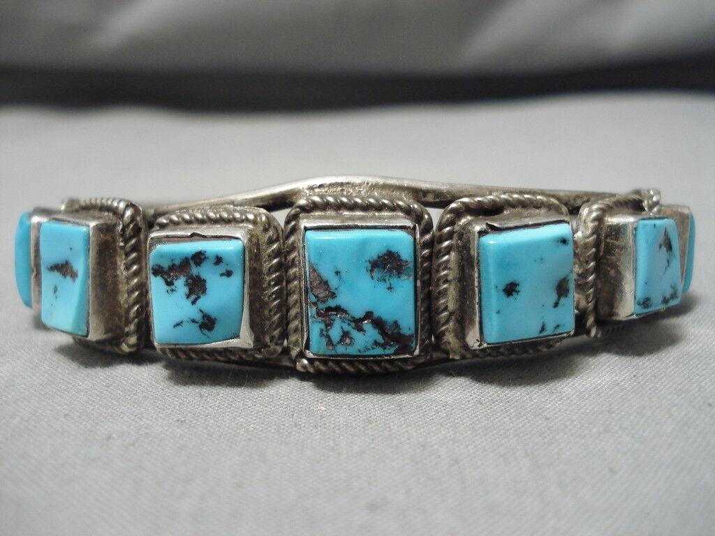 Magnifico Vintage Navajo Quadrato Turchese argentoo Sterling Bracciale Bracciale Bracciale 319364