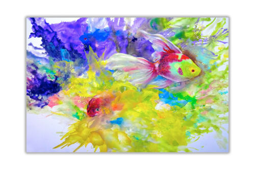 Abstract Tropical Reef and Fish Poster Prints Wall Art Oil Painting Re-print