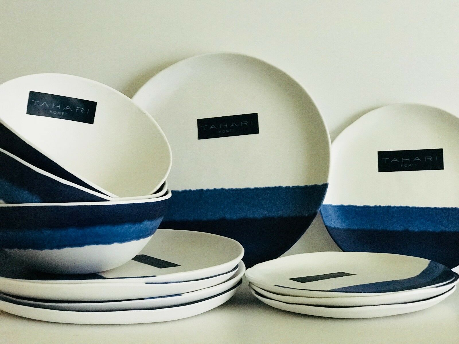Tahari Home Melamine Plates bluee Indigo Glaze Dinner Salad & Bowls Sets of 4 NWT