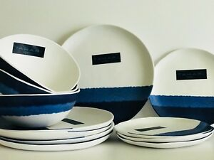 Image Is Loading Tahari Home Melamine Plates Blue Indigo Glaze Dinner