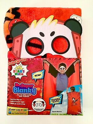 Ryans world Boys Wearable Super Blanky Hero Blanket Kids Cape Combo Panda