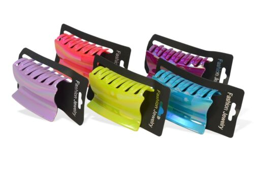 12 x Hairdresser Hairdressing Hair Claw Plastic Clip Clamp Multi Colours 9 cm