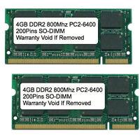 8gb Kit 2x 4gb Ddr2 800 Mhz Pc2-6400 Sodimm Memory For Ibm Lenovo Hp Dell Laptop