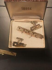 Lot-of-4-SWANK-Signed-Vintage-Swank-Cuff-links-Cufflings-Tie-Accessories-Box