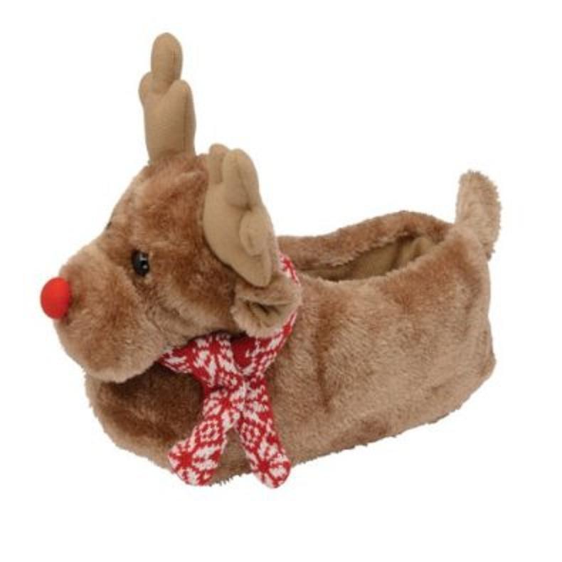 LADIES REINDEER FUNKY FUN NOVELTY XMAS SLIPPERS IDEAL GIFT SIZE 3 4 5 6 7 8 NEW