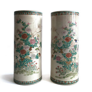Pair-Large-Antique-Japanese-Satsuma-Enameled-Stoneware-Pottery-Vases-C-1900