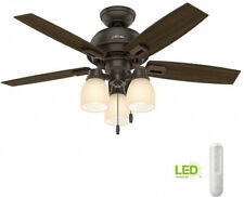 Ceiling Fan Hunter Donegan 44 in. LED 3-Light Indoor Onyx Bengal Bronze Remote
