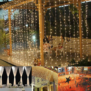 3mx3m 300 led curtain net light christmas party wedding for 160 net christmas decoration lights clear