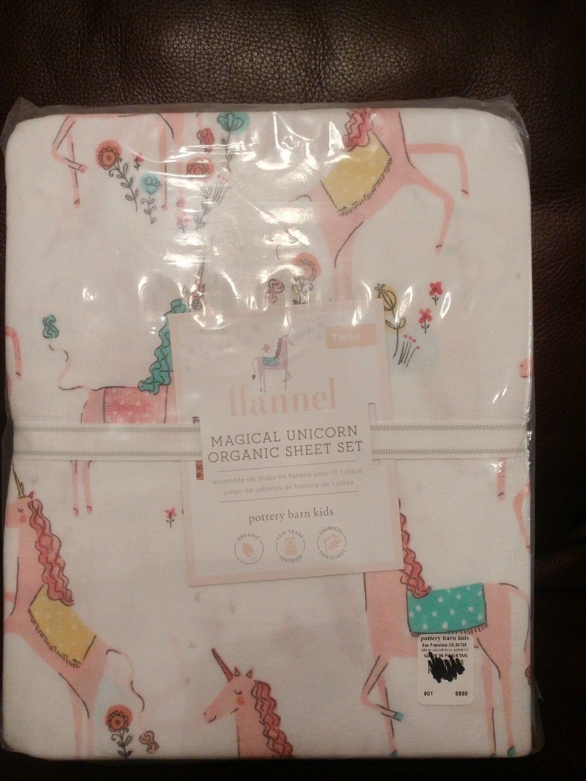 3pc POTTERY BARN Kids magique Licorne Organic Twin Sheet Set Flanelle Neuf avec étiquettes