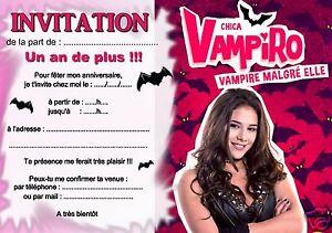 5 Ou 12 Cartes Invitation Anniversaire Chica Vampiro Ref 325 Ebay
