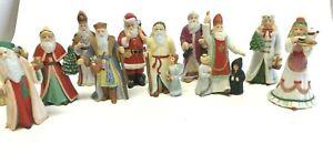 Lot-of-10-LENOX-International-Christmas-Santa-Figurines-1994-3-1-2-034-tall-Vintage