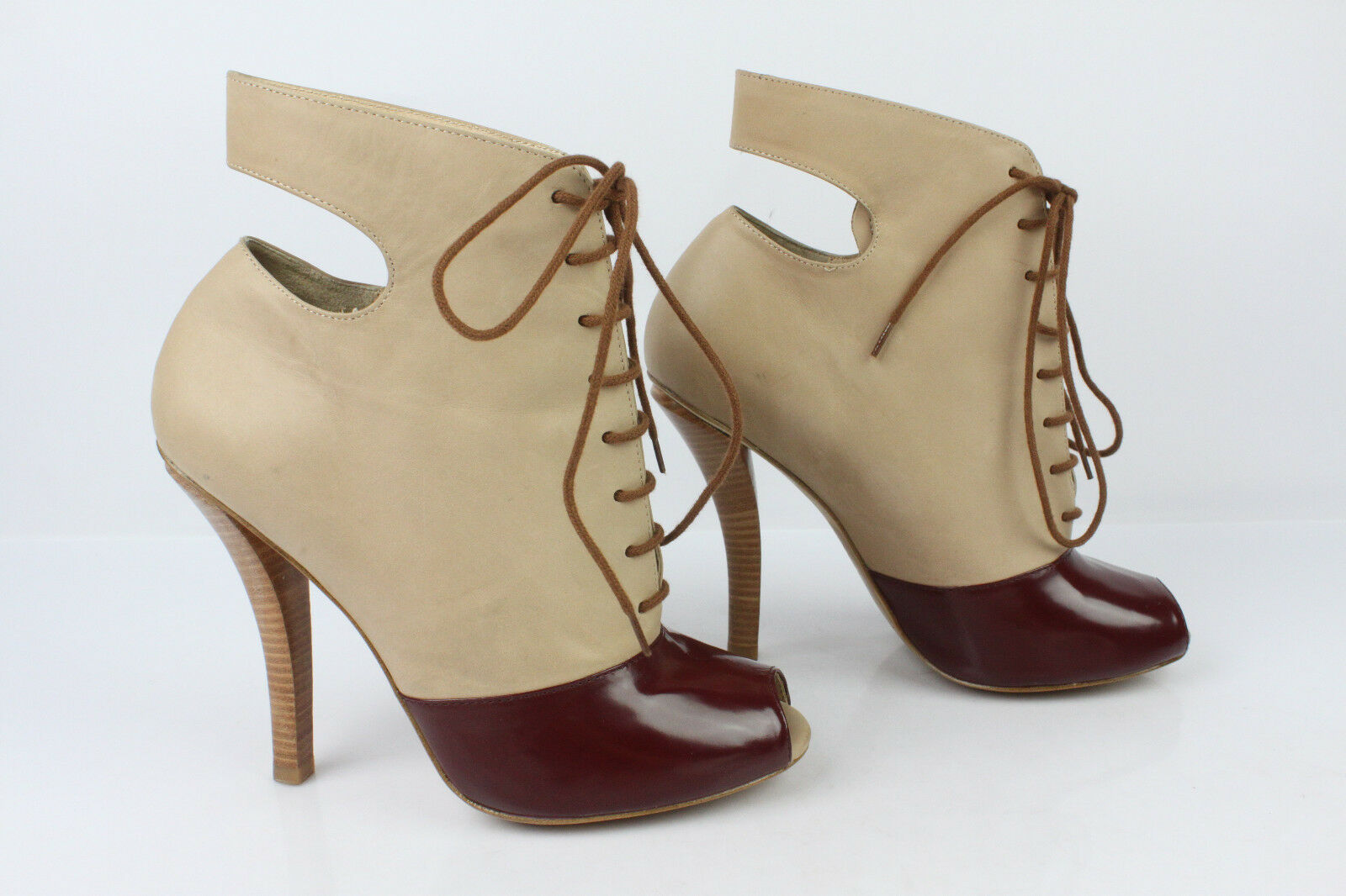 Boots Lace ASKALICE All Leather Leather Leather Beige and Bordeaux T 39 TOP CONDITION 695e52