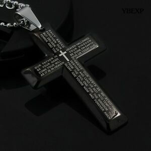 New-Gift-Unisex-039-s-Men-Stainless-Steel-Cross-Pendant-Black-Silver-Necklace-USA