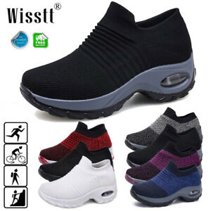 Women-039-s-Sport-Cushioned-Sneakers-Breathable-Walking-Jogging-Running-Sock-Shoes