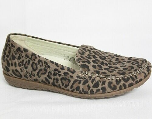 Waldläufer Hesima Slipper Damen Schuhe Mokassin Leder Leopard 329505-145-045