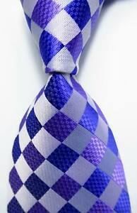 New-Classic-Checks-Purple-Blue-White-JACQUARD-WOVEN-100-Silk-Men-039-s-Tie-Necktie