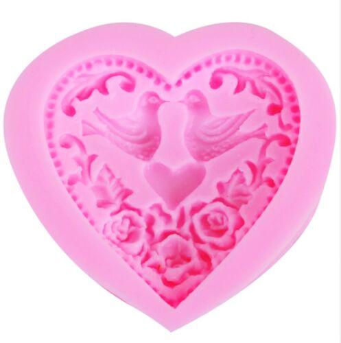 Forma de silicona corazón con paloma verter cemento seifengießen vintage estilo