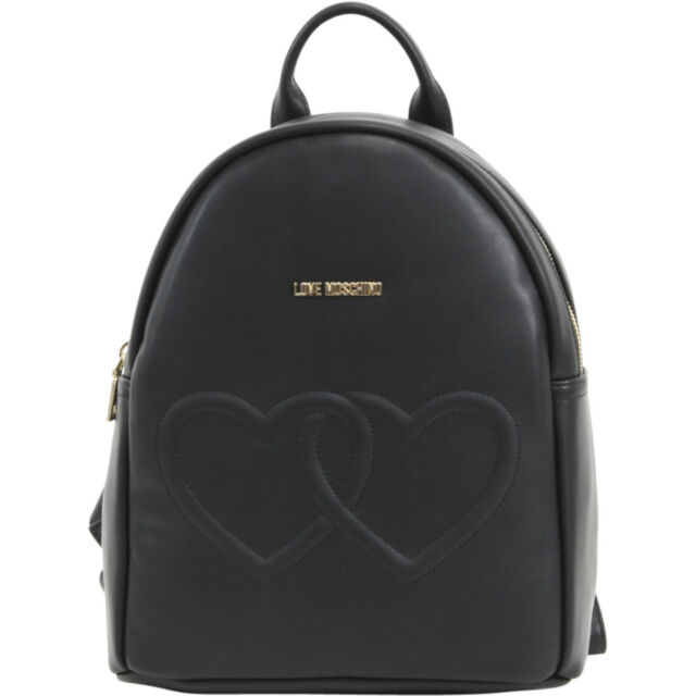 Love Moschino Women's Black Double Heart Book Bag Backpack