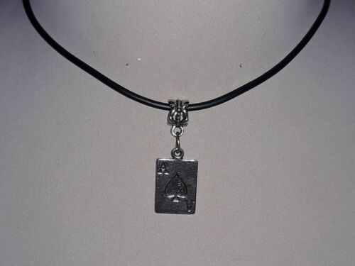 NEW PLAYING CARD ACE OF SPADES DESIGN PENDANT /& BLACK NECKLACE EXTENDER CHAIN