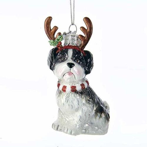 Shih Tzu w//Antlers Noble Gems Glass Ornament