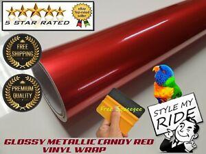 900d9a385e83 5M x 1.5M Gloss Metallic Candy Apple Red Vinyl Wrap w Air Release ...