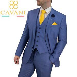 Charitable Homme Cavani Créateur Été Mariage Bleu Clair 3 Pièce Costume Vendu Séparément Neuf-afficher Le Titre D'origine En Voyageant