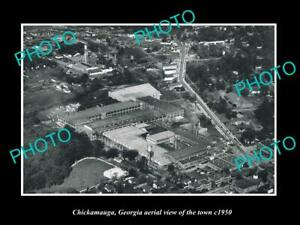 OLD-POSTCARD-SIZE-PHOTO-CHICKAMAUGA-GEORGIA-AERIAL-VIEW-OF-THE-TOWN-c1950