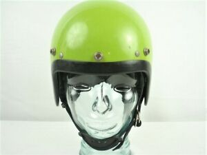 Vintage-60s-AGV-Open-Face-Suspension-Motorcycle-Helmet-Lime-Green-small-shell