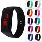 Womens Mens Girls Boys Kids Sport LED Silicon Bracelet Digital Wrist Watch Black