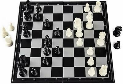 """Chess Travel 3-In-1Magnetic Board Game Portable Set Toy Black /& White 12.5""""Set"""