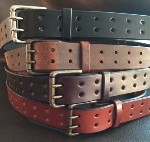 """2/""""Genuine Bridle Leather Casual Gun Work Belt Double Hole Heavy Duty USA CCW New"""