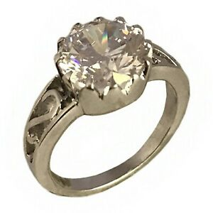 925-Solid-Sterling-Silver-Ring-Engagement-Wedding-Cubic-Zirconia-Fit-Jewelry