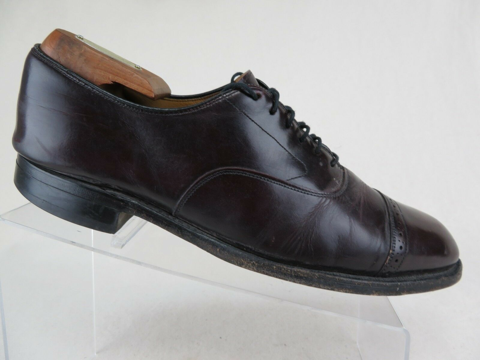 JOHNSTON & MURPHY Cap-Toe Cordovan Sz 9.5 B 2A Men Dress shoes Oxfords