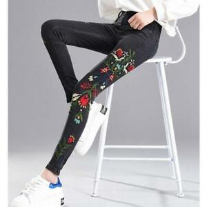 Women's Pencil Pants 3D Floral Embroidered Denim Jeans Legging Trouser Skinny sz