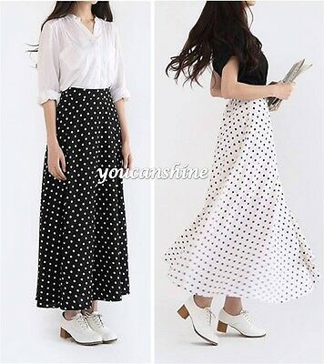 New Womens Retro Maxi Polka Dot High Waist Dress Beach Casual Pleated Long Skirt