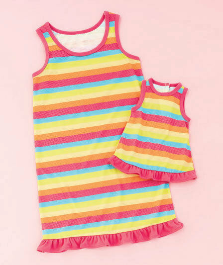 Girl 10-12 and Doll Matching Rainbow Nightgown Outfit American Girls Dollie Me
