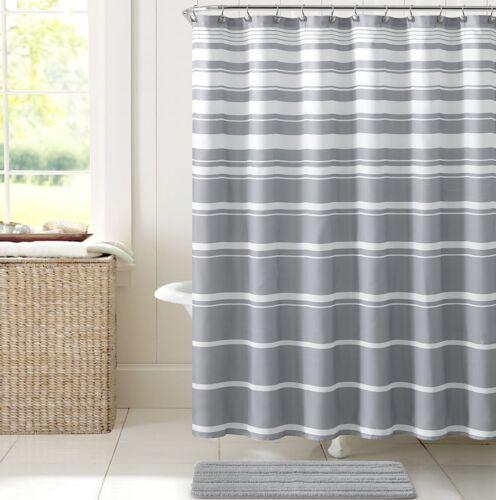 Hudson /& Essex Grey White Faux Linen Fabric Shower Curtain Variation Horizontal