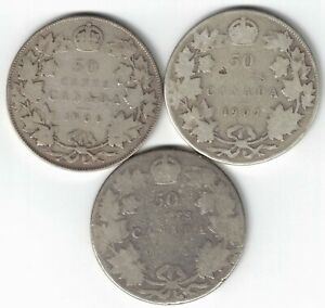 3-X-CANADA-50-CENTS-EDWARD-VII-CANADIAN-STERLING-SILVER-COINS-1906-1907-1908