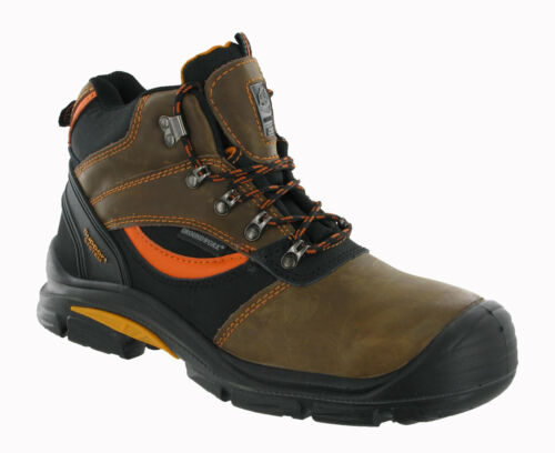 MENS SAFETY COMPOSITE TOE CAP ANKLE WORK BOOTS LACE-UP METAL HOOK SHOES TRAINERS