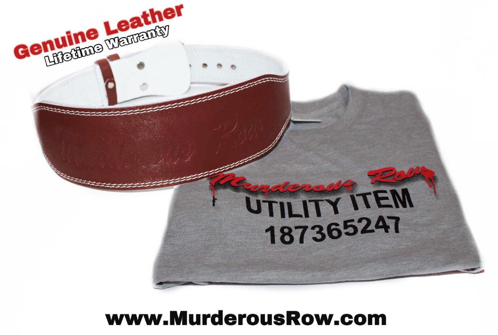 Murderous Row WeightLifting Powerlifting Genuine Leather Belt  (L) - BONUS SHIRT   hottest new styles