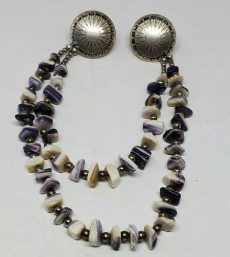 Vintage Earrings Sterling Silver /& 1980/'s Amethyst Chip Beads